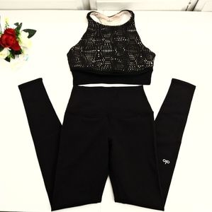 Alo Two Piece Black Workout Set In A Size XS